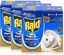 3x Raid Night & Day Trio Insect Repellent Plug and