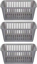 3X37cm Silver Plastic Handy Basket Storage Basket