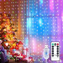 3x3m LED String Light Curtain LED String Light Curtain with 8 Modes, 300LEDs, IP44 Waterproof Decoration for Christmas, Party Decoration, Indoor Lighting (Colorful) SOEKAVIA