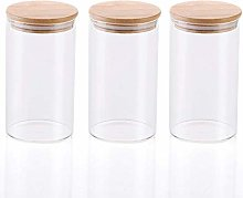 3x650ML Glass Airtight Storage Jars Set of 3,