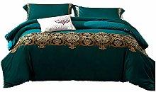 4/6pcs dark green bedding sets royal golden