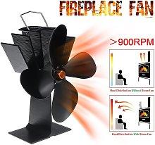 4 Blades Aluminum Fireplace Fan Powered by Heat