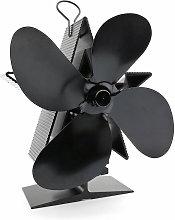 4 Blades Heat Fireplace Fan Thermal Power Aluminum