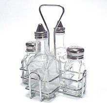 4 Bottle Holder With 2 x Oil Vinegar Bottle and 2