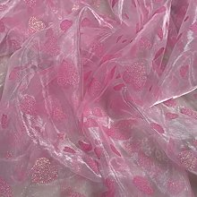 4 Colours Sheer Glitter Heart Organza Fabric Voile