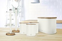 4 Container Food Storage Set Swan Colour: White