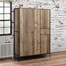 4 Door Wardrobe, Happy Beds Urban Wood and Metal