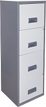 4 Drawer A4 Metal Filing Cabinet - Silver & White