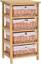 4 Drawer Wicker Basket Storage Shelf Unit Wooden