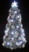 4 Foot Small Snowy White Pine Pre-lit Flocked