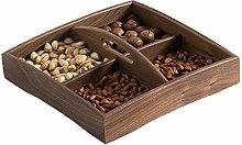 4 Grid Snacks Dried Fruit Storage Tray, Solid Wood