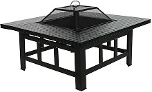 4 in 1 Fire Pit Table Top BBQ Grill & Ice Cooler