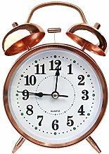 4 Inch Rose Gold Metal Ringing Alarm Clock-Rose