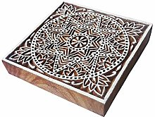 4 Inch Textile Large Wood Stamp Square Star Design
