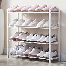 4-Layer Metal Shoe Rack can Hold 12 Pairs of White