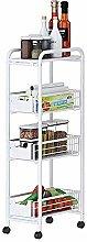 4 Layers Kitchen Trolley Metal Serving Trolleys