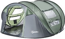 4-Man Pop-Up Dome Camping Tent w/ 4 Windows Hiking