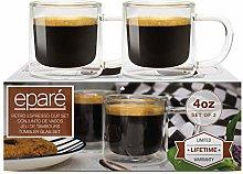 4 oz Glass Espresso Cups - Set of 2 - Insulated