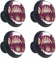 4 Pack 30mm Cabinet Knobs Christmas Emblems Badges