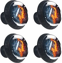 4 Pack 30mm Cabinet Knobs Ice Hockey with Flame