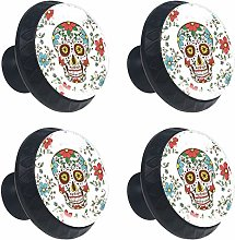 4 Pack 30mm Cabinet Knobs Skull with Flower Funny