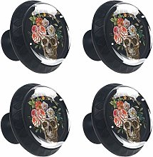 4 Pack 30mm Cabinet Knobs Vintage Skull with Bird