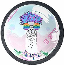 4 Pack 35MM Cabinet Knobs Alpaca with Glasses,