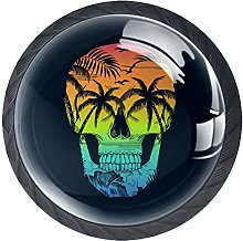 4 Pack 35MM Cabinet Knobs Beach with Skull, Round