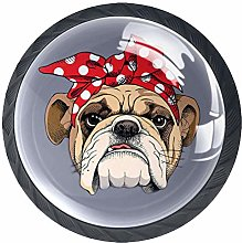 4 Pack 35MM Cabinet Knobs Bulldog with Bow, Round