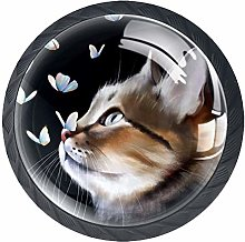 4 Pack 35MM Cabinet Knobs Cat with Butterflies,