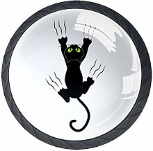 4 Pack 35MM Cabinet Knobs Cat with Claws, Round
