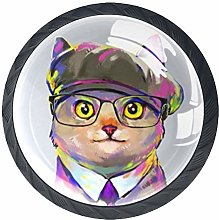 4 Pack 35MM Cabinet Knobs Cat with Glasses, Round