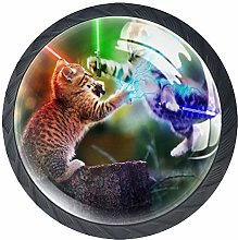 4 Pack 35MM Cabinet Knobs Cats with Lightsabers,