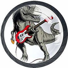 4 Pack 35MM Cabinet Knobs Dinosaur with Guitar,