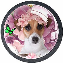4 Pack 35MM Cabinet Knobs Dog with Flowers, Round
