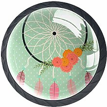 4 Pack 35MM Cabinet Knobs Dreamcatcher with
