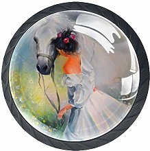 4 Pack 35MM Cabinet Knobs Girl with Horse, Round