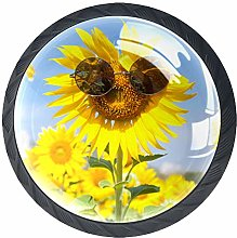 4 Pack 35MM Cabinet Knobs Glasses with Sunflower,