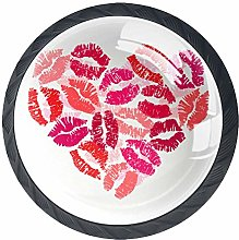4 Pack 35MM Cabinet Knobs Heart with Lipsticks,