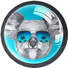 4 Pack 35MM Cabinet Knobs Koala with Sunglasses,