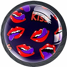 4 Pack 35MM Cabinet Knobs Mouth with Kiss Pop Art,