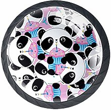 4 Pack 35MM Cabinet Knobs Panda with Cakes, Round