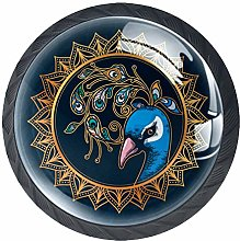 4 Pack 35MM Cabinet Knobs Peacock with Mandala,