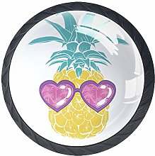 4 Pack 35MM Cabinet Knobs Pineapple with Glasses,