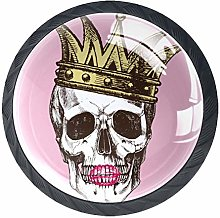 4 Pack 35MM Cabinet Knobs Skull with A Crown and
