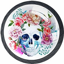 4 Pack 35MM Cabinet Knobs Skull with Peony, Round