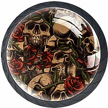 4 Pack 35MM Cabinet Knobs Skull with Roses, Round