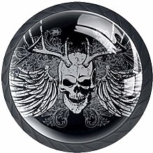 4 Pack 35MM Cabinet Knobs Skull with Wings, Round