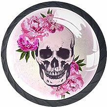 4 Pack 35MM Cabinet Knobs Skulls with Pink
