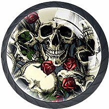 4 Pack 35MM Cabinet Knobs Skulls with Red Roses,